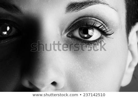 Intenzív szemek közelkép gyönyörű nő zöld szemek nők Stock fotó © lisafx