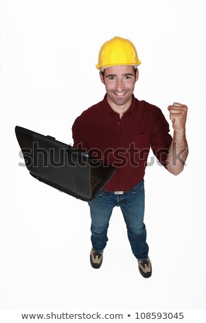 Ambachtsman laptop business man bouw achtergrond Stockfoto © photography33