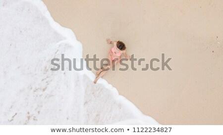 розовый пляжное полотенце пляж солнце волос Сток-фото © photography33