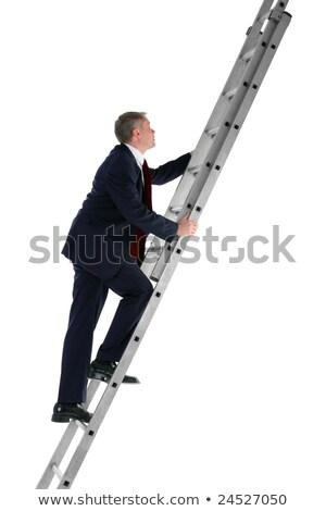 ストックフォト: ビジネスマン · 登山 · はしご · 側面図 · 孤立した · 白