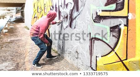 Genç duvar yazısı aerosol siyah sanat Stok fotoğraf © ivonnewierink