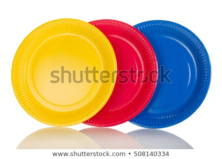 青 使い捨て プレート 白 食品 パーティ ストックフォト © shutswis