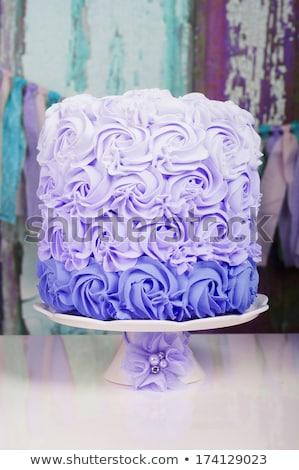 Esküvői torta lila pillangók esküvő pillangó torta Stock fotó © gsermek