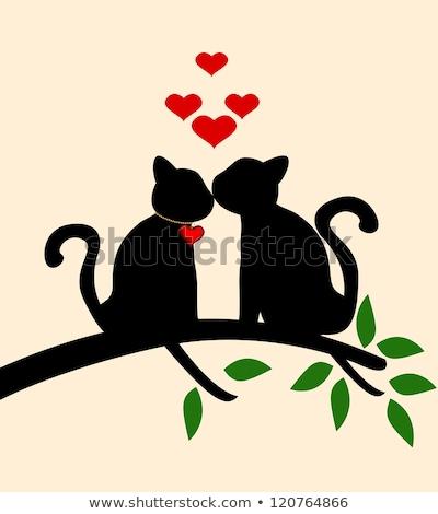 Szeretet fa vektor macskák ág madarak Stock fotó © beaubelle