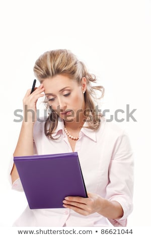 blonde businesswoman with purple folder Stock photo © ssuaphoto