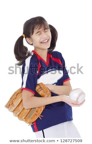Girl laughing while holding softball and mitt, isolated Stock photo © jarenwicklund