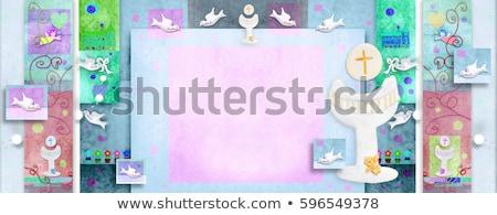 elsőáldozás · üdvözlőlap · első · szent · úrvacsora · meghívó - stock fotó © marimorena