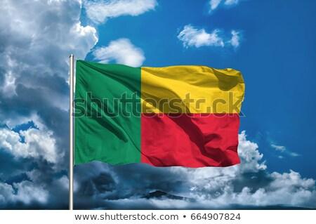 kumaş · doku · bayrak · Benin · mavi · yay - stok fotoğraf © maxmitzu
