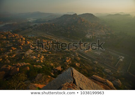 top view of ruins from mountain matangi on sunrise hampi india stock photo © jet