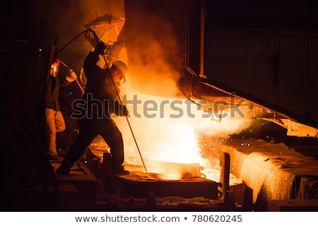 Stock photo: Liquid metal from blast furnace