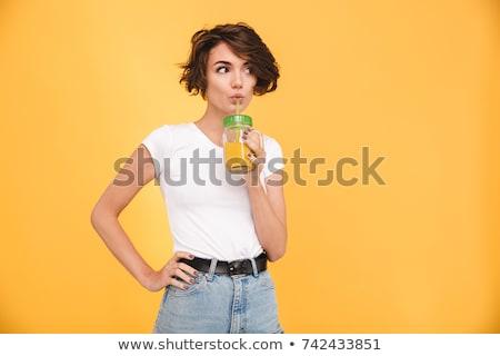 Vrouw drinken stro oranje portret gelukkig Stockfoto © wavebreak_media