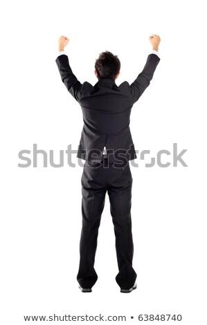 Bajnok üzletember áll kezek kinyitott győzelem Stock fotó © HASLOO