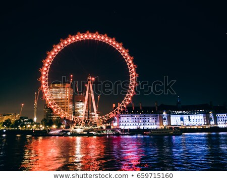 Сток-фото: London Eye And London Cityscape In The Night United Kingdom