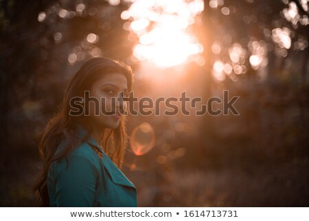 Stock photo: beautiful indian brunette in a golden field