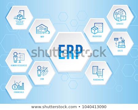 ERP sign in blue hexagon Stock photo © marinini