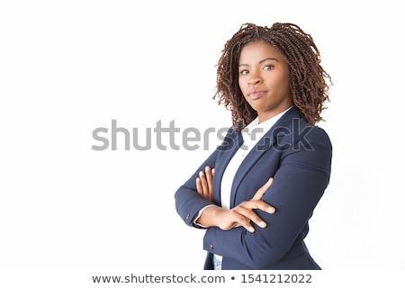 Seriamente imprenditrice bianco stand sedia Foto d'archivio © chesterf