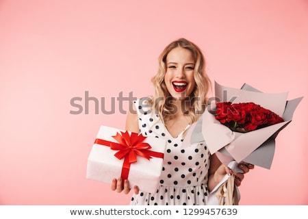 ストックフォト: 美しい · 小さな · 女性 · 着用 · 赤いバラ · ドレス