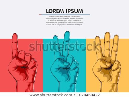 Jeden dwa trzy kobieta strony gesty Zdjęcia stock © AlphaBaby