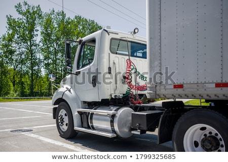 Stockfoto: Vrachtwagen · vervoer · twee · vrachtwagens · frame