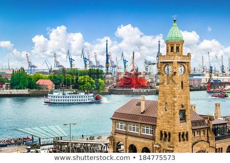panorama of the hamburg harbor stock photo © elxeneize