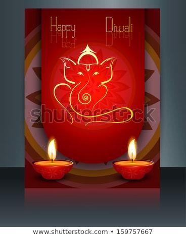 Beautiful Artistic colorful Hindu Lord Ganesha brochure template Stock photo © bharat