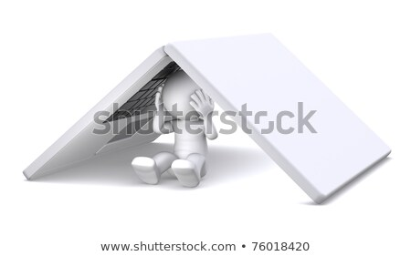 3d character hiding under notebook Stock photo © Kirill_M