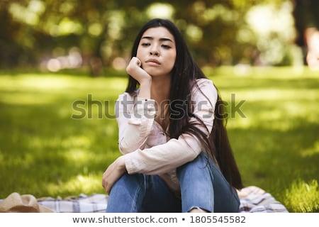 Verano tristeza mujer hermosa mujer nina hierba Foto stock © AlphaBaby