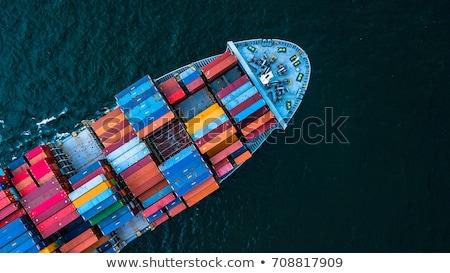 Kontenerowiec portu ogromny działalności biuro wody Zdjęcia stock © AndreyPopov