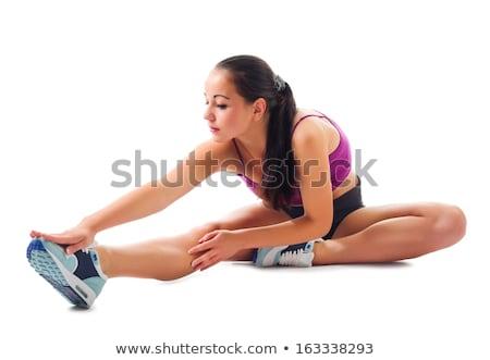 gyönyörű · lány · tornász · testmozgás · nyújtás · izolált · fehér - stock fotó © elnur