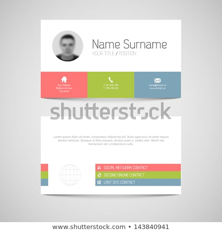 Modern blue business card template with flat user interface Stock photo © orson