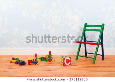 Nursery room with blue vintage wall paper and toys Stock photo © ivonnewierink
