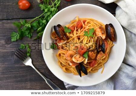 морепродуктов · пасты · свежие · спагетти · кальмар · служивший - Сток-фото © vichie81