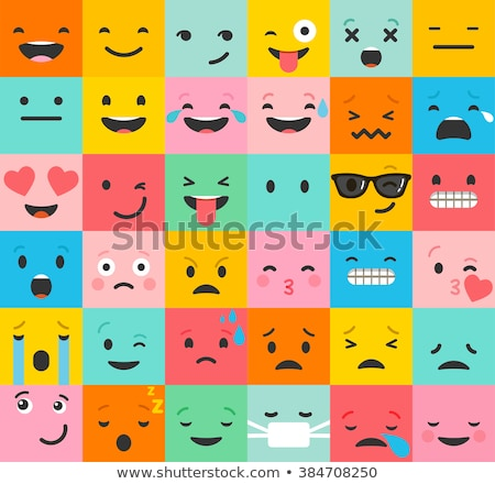 set of color smiley icons stock photo © elenapro
