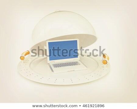 Restaurant cloche and laptop with open lid  Stock photo © Guru3D