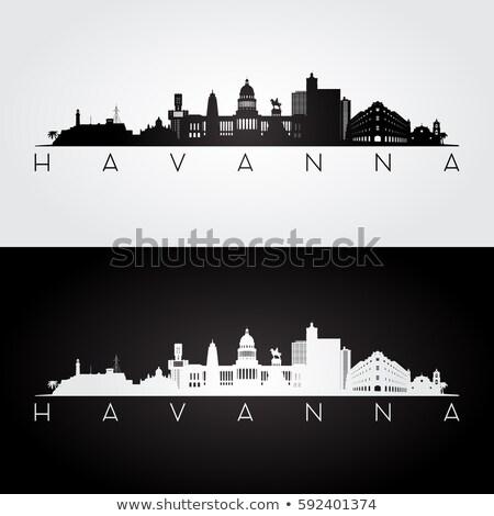 ハバナ スカイライン シルエット 市 キューバ 建物 ストックフォト © blamb