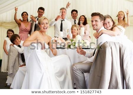 menyasszony · oldal · fiú · sátor · recepció · nő - stock fotó © monkey_business