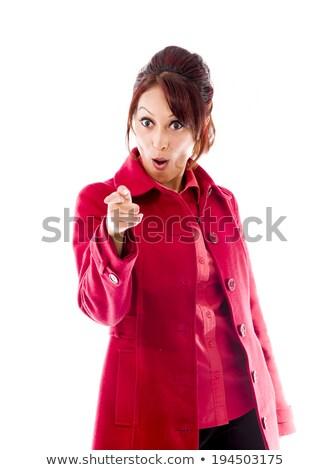 portré · megrémült · fiatal · nő · gesztikulál · fehér · kezek - stock fotó © bmonteny