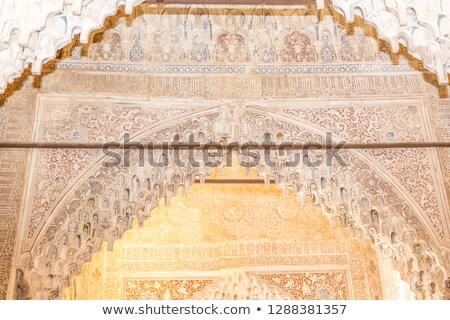 antigo · pormenor · coluna · alhambra · palácio · Espanha - foto stock © HERRAEZ
