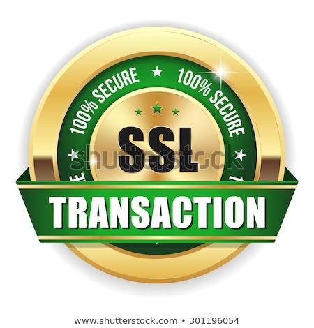 Biztonságos tranzakció arany vektor ikon gomb Stock fotó © rizwanali3d