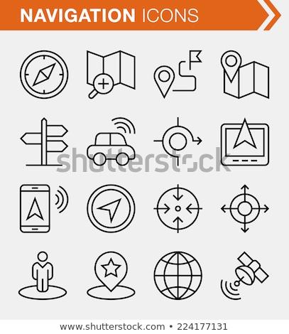 Black Line Vector Icon For Gps Navigator ストックフォト © Bisams