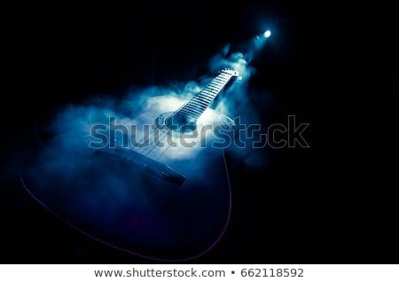 Akusztikus klasszikus gitár füst fekete zene Stock fotó © ankarb