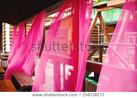 bright pink curtains in street cafe stock photo © dariazu