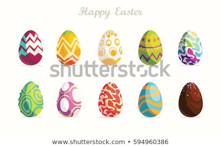 Foto stock: Huevos · de · Pascua · diferente · colores · blanco · verde · rojo