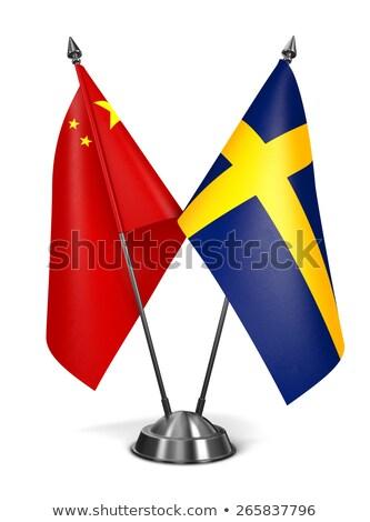 Китай Швеция миниатюрный флагами изолированный белый Сток-фото © tashatuvango