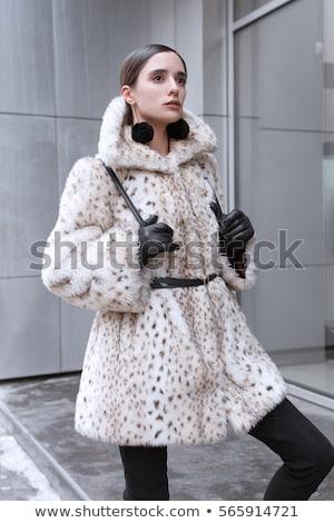 Magas modell visel szőrmebunda nő divat Stock fotó © Elnur