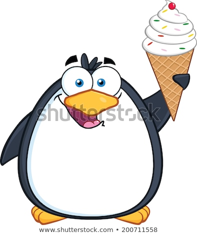 Stok fotoğraf: Penguin Is An Ice Cream Cone With A Cherry