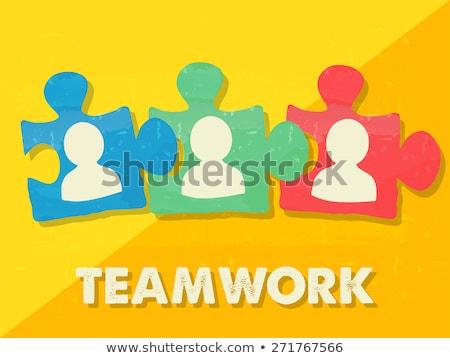 Lavoro di squadra pezzi del puzzle persona segni grunge design Foto d'archivio © marinini