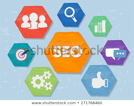 SEO and internet signs in grunge flat design hexagons Stock photo © marinini