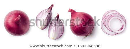 sliced red onion on white background stock photo © ozaiachin