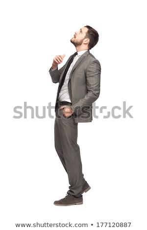 Stock fotó: üzletember · felfelé · néz · gondolkodik · néz · elöl · üzlet